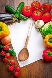 Blank recipe book and food ingredients. A blank recipe book and food ingredients Stock Photos
