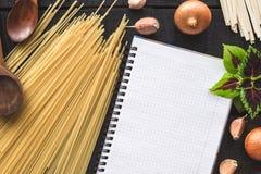 The blank recipe book with italian spaghetti Stock Photos
