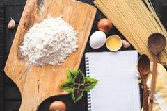 The blank recipe book with italian spaghetti Stock Photo