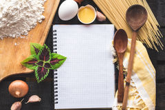The blank recipe book with italian spaghetti Royalty Free Stock Images