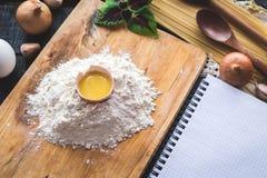 The blank recipe book with italian spaghetti Royalty Free Stock Photos