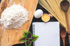 The blank recipe book with italian spaghetti Stock Image