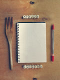 Blank recipe book with small cubes Stock Photography