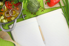 Blank recipe book with vegetable soup Royalty Free Stock Image