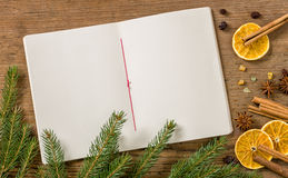 Blank recipe booklett with Christmas Decoration. Blank recipe book with Christmas Decoration Royalty Free Stock Photo