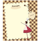 Blank recipe card. With chef woman Royalty Free Stock Image