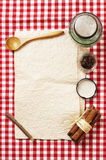 Blank recipe card. And spices on checkered napkin Royalty Free Stock Image