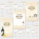 Blank for a recipe. Wine list, on the background of glasses for alcoholic drinks Stock Photography