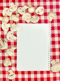 Blank recipes book. With mushrooms Stock Images