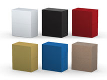 Blank rectangle box packaging set with clipping path Royalty Free Stock Image