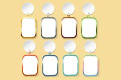 Blank rectangles with colorful metal frames hanging on white cir. Modern infographic template as a blank rectangles with colorful metal frames hanging on white Royalty Free Stock Photography