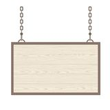 Blank rectangular wooden signboard hanging on metallic chain. Vector flat monochrome Stock Photos