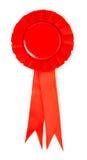 Blank red award winning ribbon rosette Stock Photo