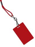 Blank red badge with copy space (+ clipping path). Blank red ID card / badge with copy space, isolated on white. Contains clipping path of the card (without stock images