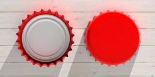 Front and back view of red beer caps,  on wooden background, top view. 3d illustration. Blank, red beer caps,  on wooden background, front and back view, space Royalty Free Stock Photography