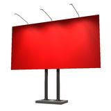 Blank red billboard, isolated on white. 3d illustration Stock Image