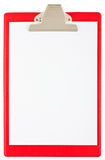 Blank red clipboard Stock Image
