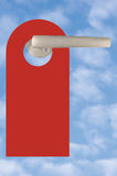 Blank Red Door Tag On Handle, Bright Summer Sky Cloudscape Background, Large Vertical Copyspace Stock Photos