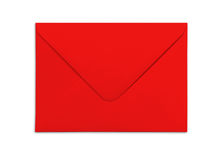 Blank red envelope isolated on white background with shadows. Royalty Free Stock Photography
