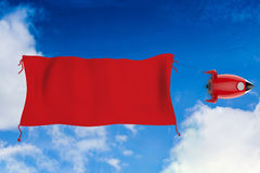 Blank red flag hanging with space shuttle. 3d rendering blank red flag hanging with space shuttle stock illustration