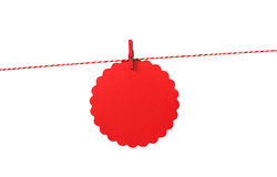 Blank red gift tag on twine Royalty Free Stock Photo