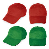 Blank red and green baseball caps Stock Images