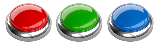 Blank red, green and blue button set with space for copy-shot. 3d image isolated on a white background Stock Photo