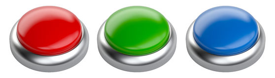 Blank red, green and blue glossy  button set with space for copy. Shot. 3d image  on a white background Royalty Free Stock Photo