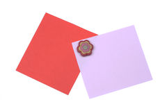 Blank red and pink note with magnet. Isolated on white background Stock Photo