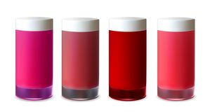 Blank red plastic packaging for rouge, lotion, lipstick and cream vector illustration