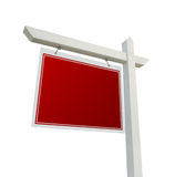 Blank Red Real Estate Sign on White Royalty Free Stock Photo