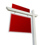 Blank Red Real Estate Sign on White Stock Photo