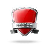 Blank red realistic glossy protection shield with Royalty Free Stock Photos