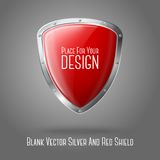 Blank red realistic glossy shield with silver. Border isolated on grey background with place for your design and branding. Vector illustration Stock Images