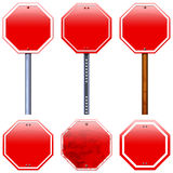 Blank red road stop signs Royalty Free Stock Image
