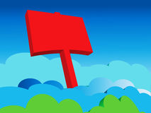 Blank Red Sign in the Clouds Royalty Free Stock Photo