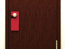 Blank red sign on the door handle Stock Photography