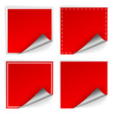 Blank red square stickers with curl sets Royalty Free Stock Photo