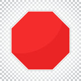 Blank red stop sign vector icon. Empty danger symbol vector illustration. Simple business concept pictogram on isolated vector illustration