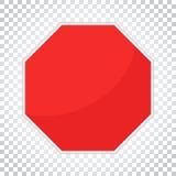 Blank red stop sign vector icon. Empty danger symbol vector illu Royalty Free Stock Photos