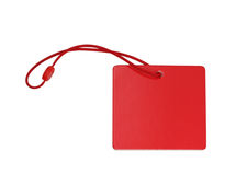 Blank red tag isolated on white background Stock Photos
