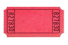 Blank red ticket isolated raffle cinema. Blank red raffle ticket isolated stock images