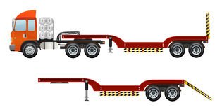 Blank red truck trailer and only trailer vector design. Royalty Free Stock Images