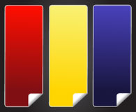 Blank red yellow blue sticker tag Royalty Free Stock Images