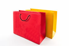 Blank red and yellow paper shopping bag . Stock Images