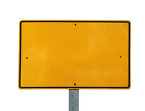 Blank Reflective Yellow Sign stock images