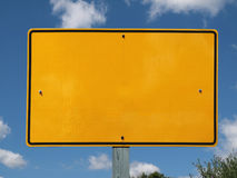 Blank Reflective Yellow  Sign Stock Photography