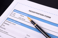 Blank registration form. Stock Photos
