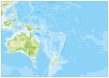 Blank Relief Map of Oceania Stock Photo