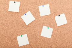 Blank reminder notes on a board Stock Images